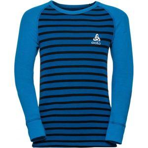 Odlo SUW KIDS TOP L/S CREW NECK ACTIVE WARM modrá 128 - Dětské tričko s dlouhým rukávem
